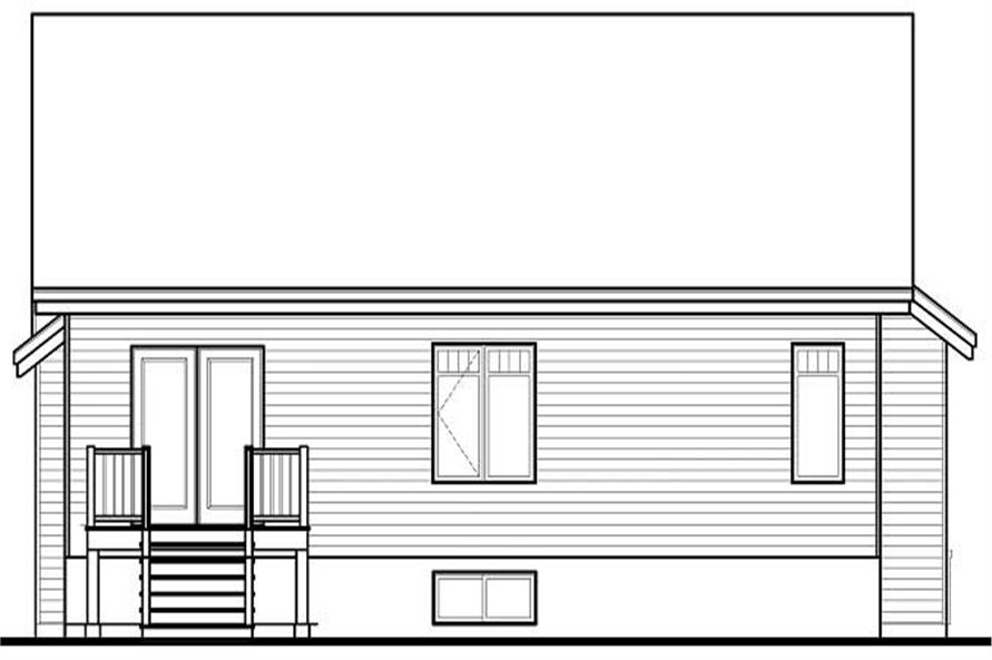 Home Plan Rear Elevation of this 2-Bedroom,1279 Sq Ft Plan -126-1086