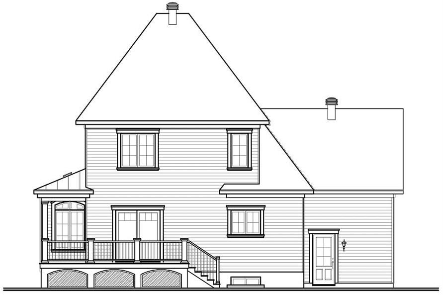 Home Plan Rear Elevation of this 3-Bedroom,2208 Sq Ft Plan -126-1087