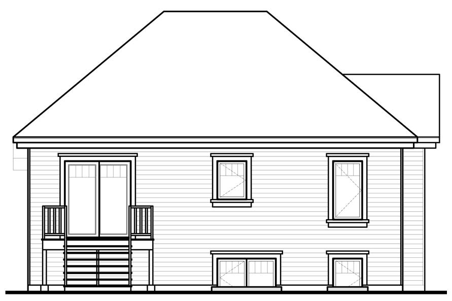 Home Plan Rear Elevation of this 2-Bedroom,986 Sq Ft Plan -126-1088