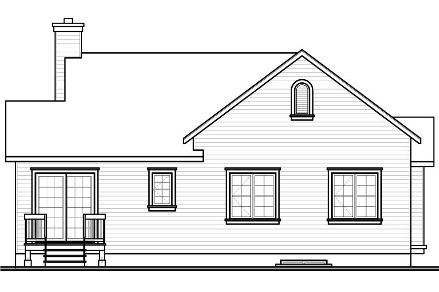 Home Plan Rear Elevation of this 3-Bedroom,1201 Sq Ft Plan -126-1091