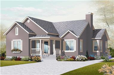 3-Bedroom, 1201 Sq Ft Country House Plan - 126-1091 - Front Exterior