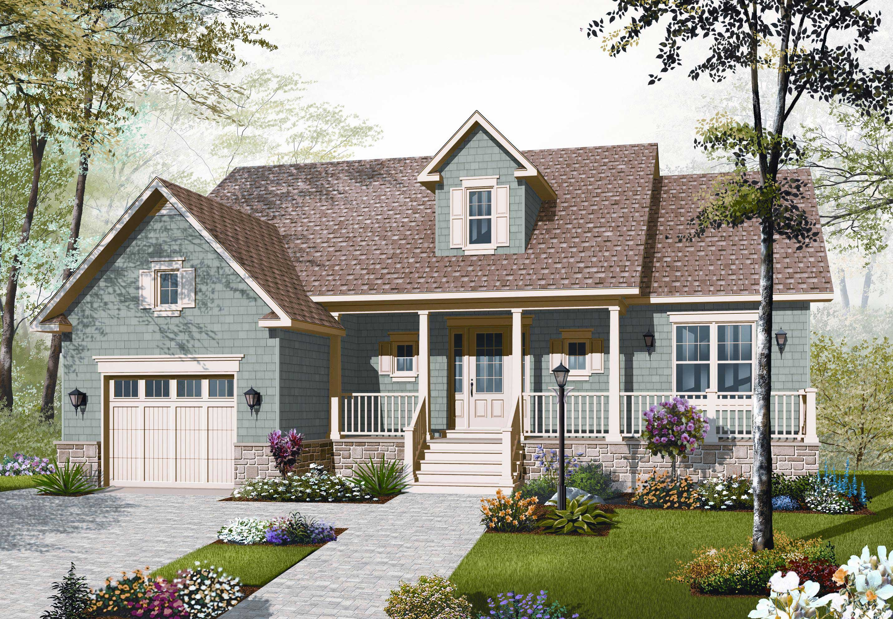 Country home plan 2 bedrms 1 baths 1344 sq ft 126 1092 for Garage style homes