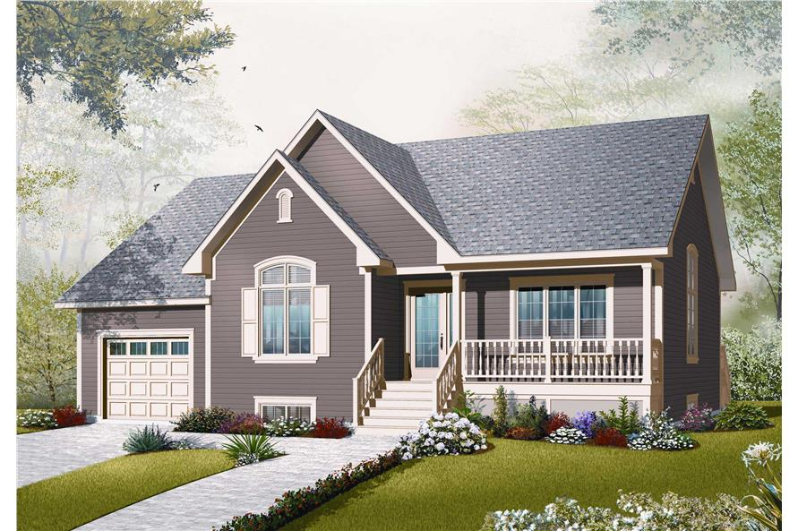 This is the front elevation of these Small Country Home Plans.