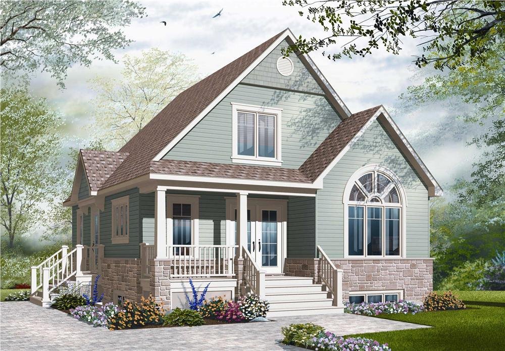 Front elevation of Craftsman home (ThePlanCollection: House Plan #126-1100)