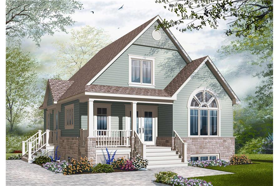 This is a computer rendering of these Cottage House Plans.