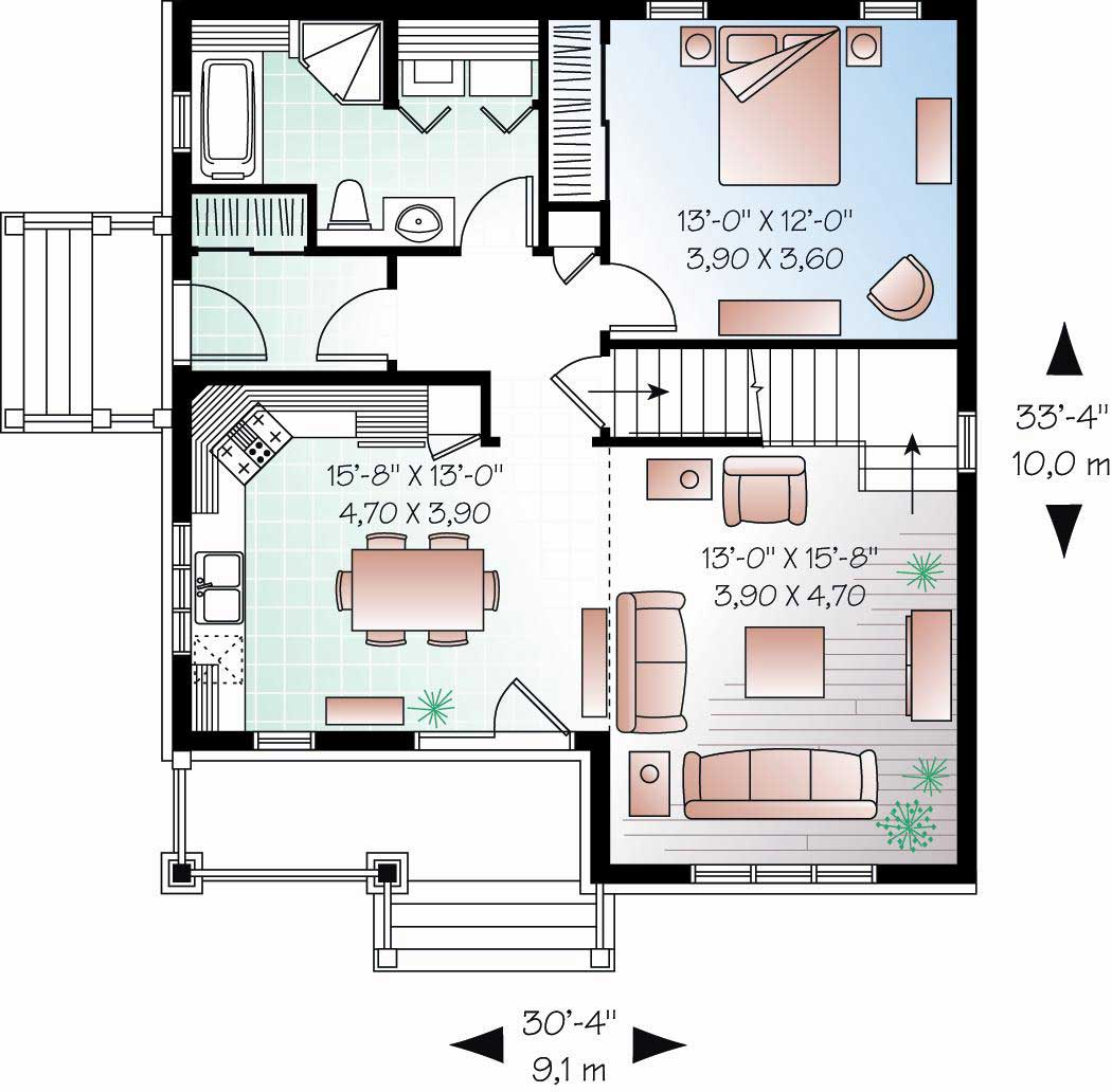 Craftsman home plan 3 bedrms 2 baths 1343 sq ft for How much is 1100 square feet
