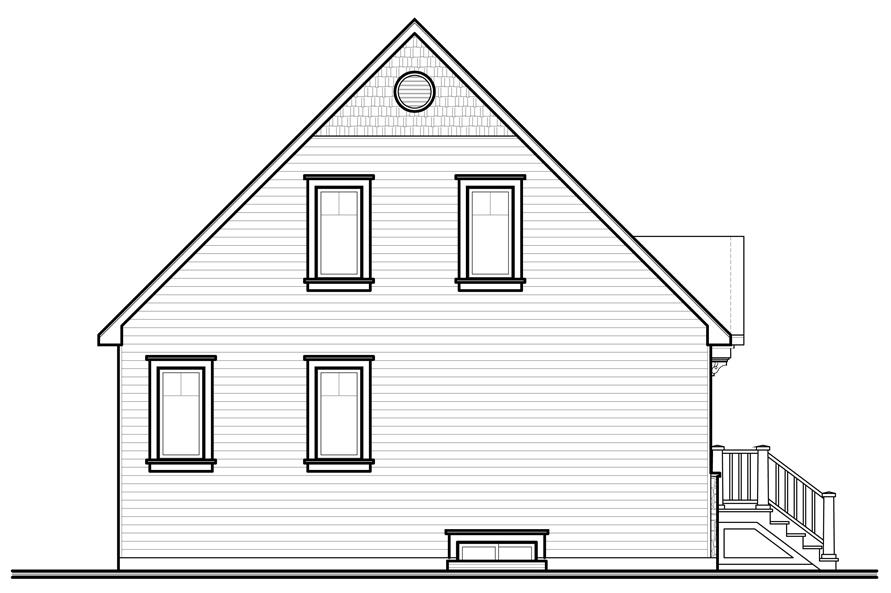 Home Plan Rear Elevation of this 3-Bedroom,1343 Sq Ft Plan -126-1100