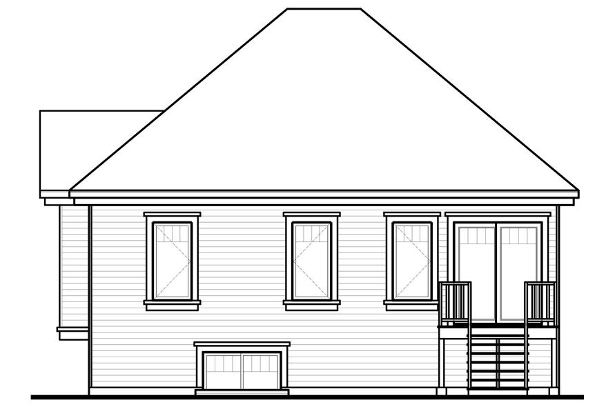 Home Plan Rear Elevation of this 2-Bedroom,949 Sq Ft Plan -126-1101
