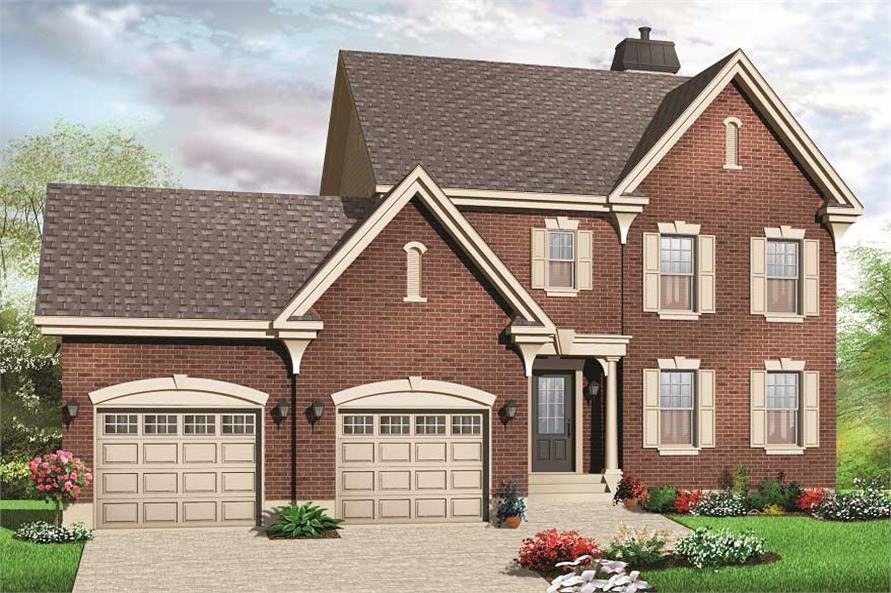 This is a cgi rendering of these Traditional House Plans.