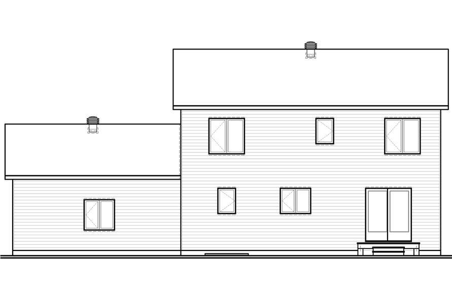 Home Plan Rear Elevation of this 4-Bedroom,1814 Sq Ft Plan -126-1105