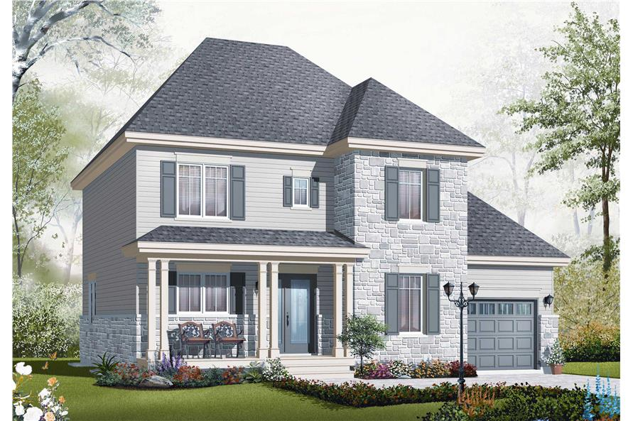 This is the front elevation of these House Plans.