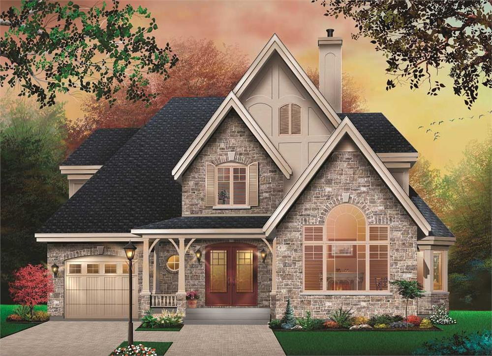 Front elevation of European home (ThePlanCollection: House Plan #126-1110)
