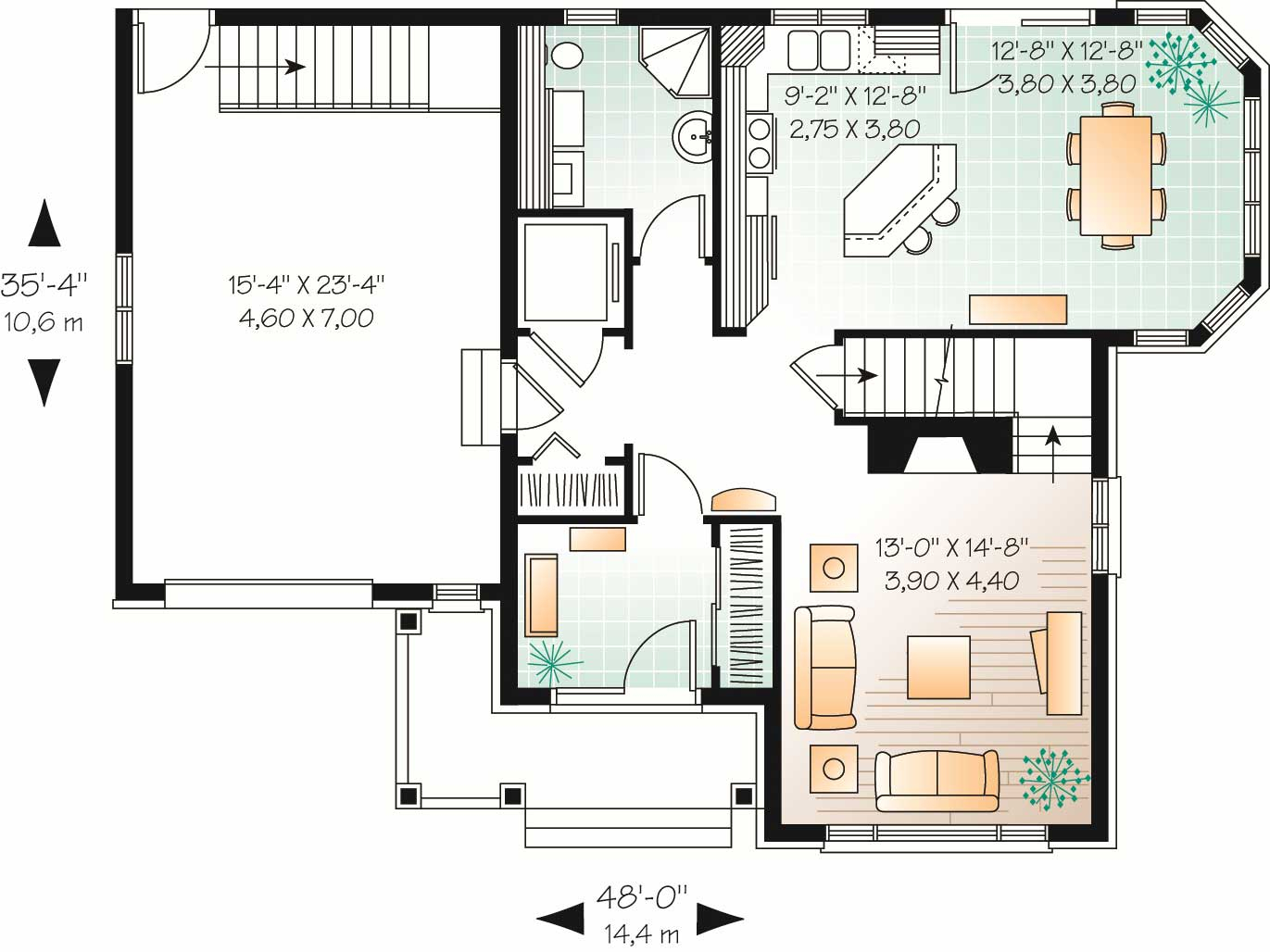 European home plan 3 bedrms 2 baths 1826 sq ft 126 for House plans with elevator