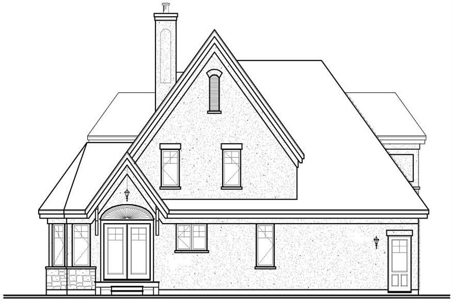 Home Plan Rear Elevation of this 3-Bedroom,1826 Sq Ft Plan -126-1110