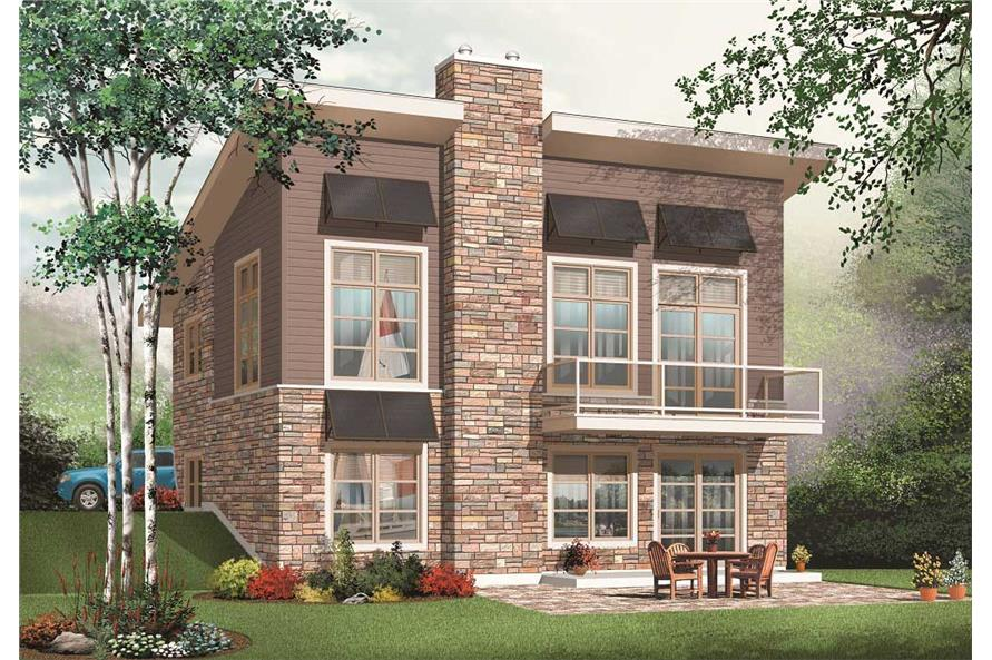 3-Bedroom, 1759 Sq Ft Contemporary Home Plan - 126-1112 - Main Exterior