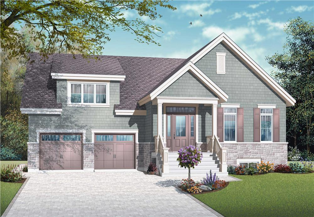 This is image is the front elevation for these Craftsman House Plans.