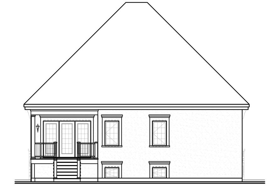 Home Plan Rear Elevation of this 3-Bedroom,1837 Sq Ft Plan -126-1116