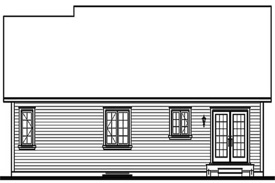 Home Plan Rear Elevation of this 3-Bedroom,1339 Sq Ft Plan -126-1119