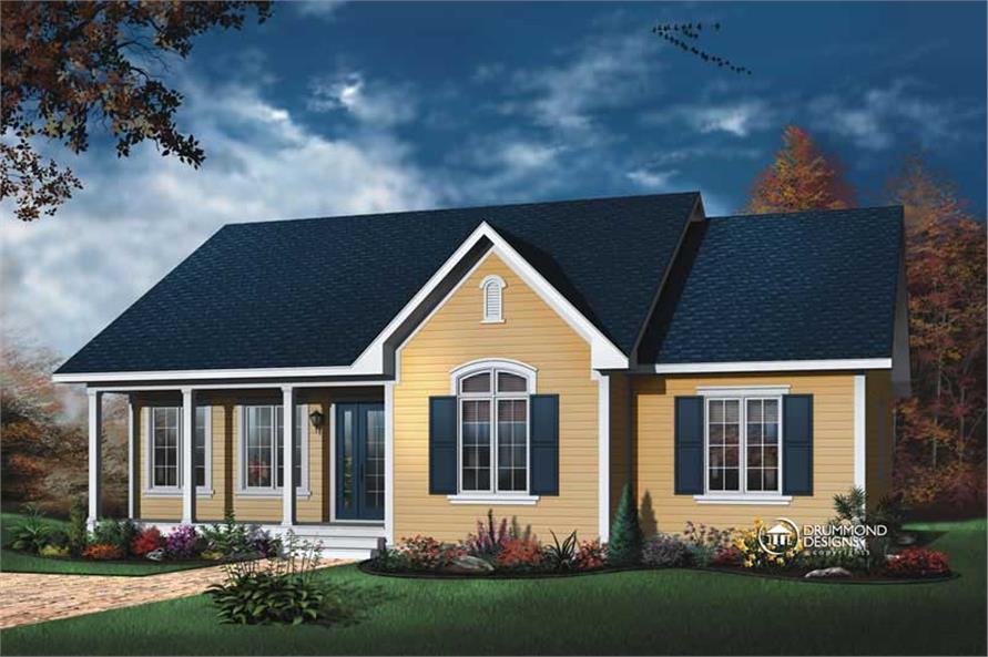 3-Bedroom, 1339 Sq Ft Country House Plan - 126-1119 - Front Exterior
