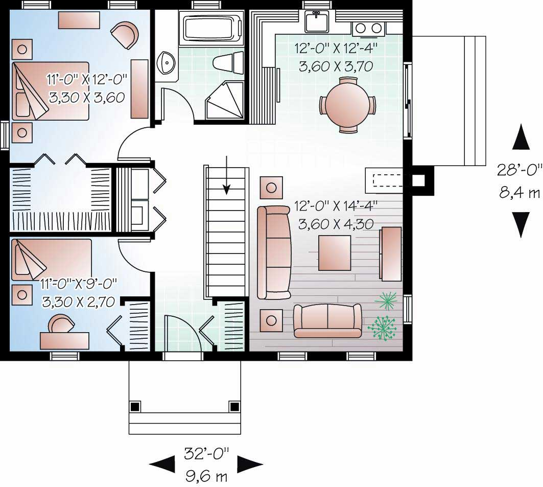 Country house plan 2 bedrms 1 baths 896 sq ft 126 1120 for 1120 westchester place floor plan