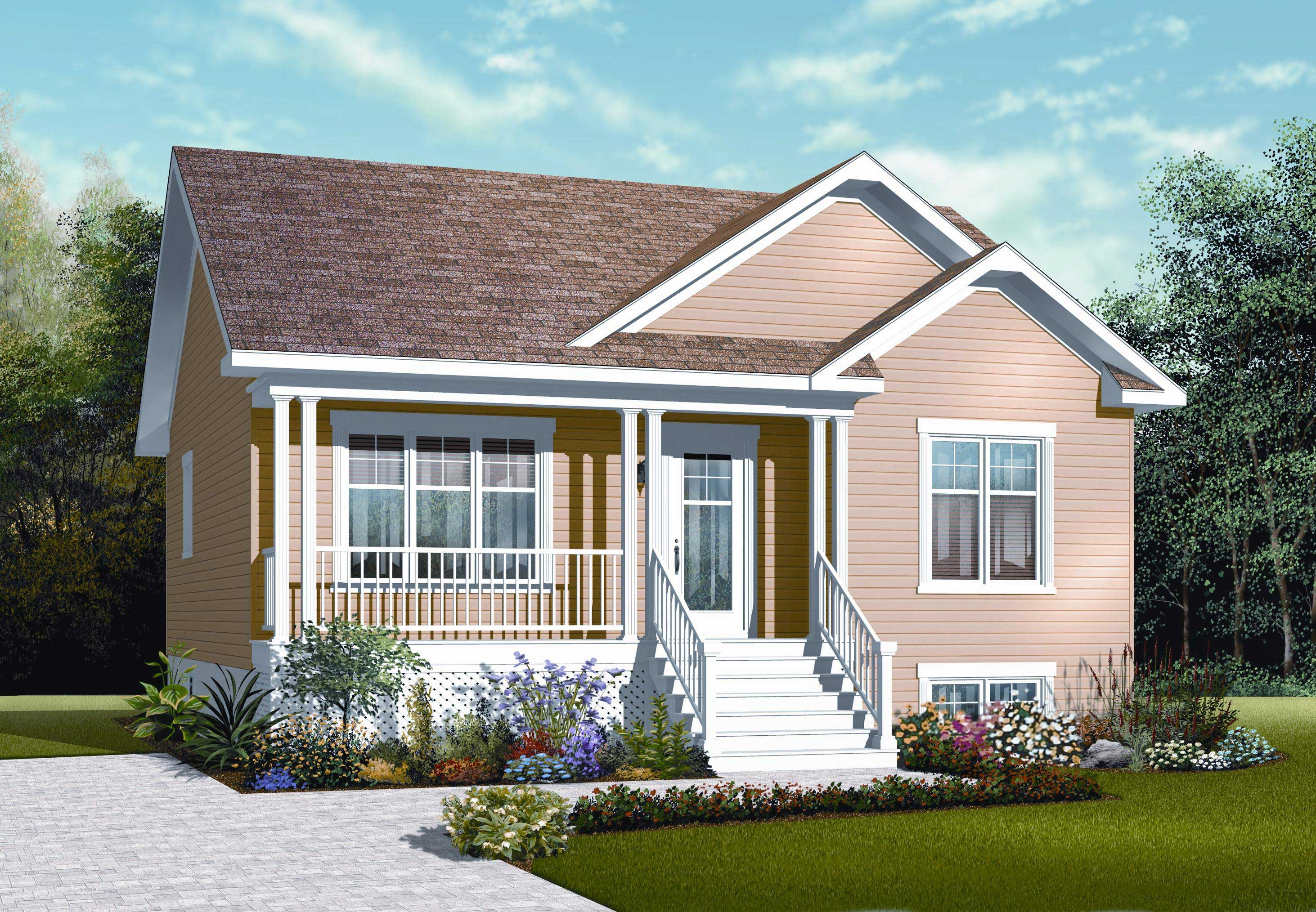 Small houseplans home design 3122 for Front look of small house