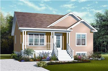 2-Bedroom, 911 Sq Ft Country House Plan - 126-1121 - Front Exterior