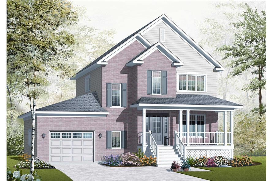 This is the front elevation (designed by a computer) for these Traditional Home Plans.