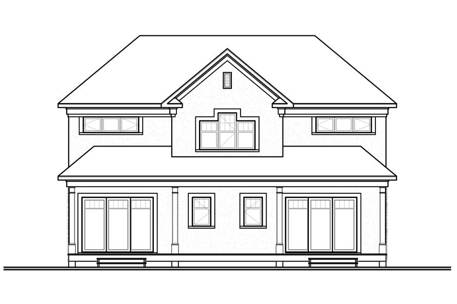 Home Plan Rear Elevation of this 5-Bedroom,2885 Sq Ft Plan -126-1125