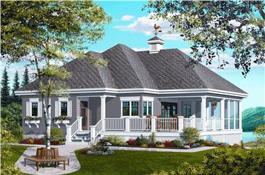 1-Bedroom, 1070 Sq Ft Country House Plan - 126-1126 - Front Exterior