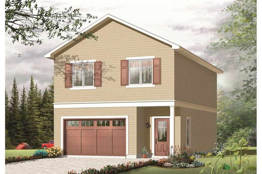 2-Bedroom, 1042 Sq Ft Garage w/Apartments House Plan - 126-1130 - Front Exterior