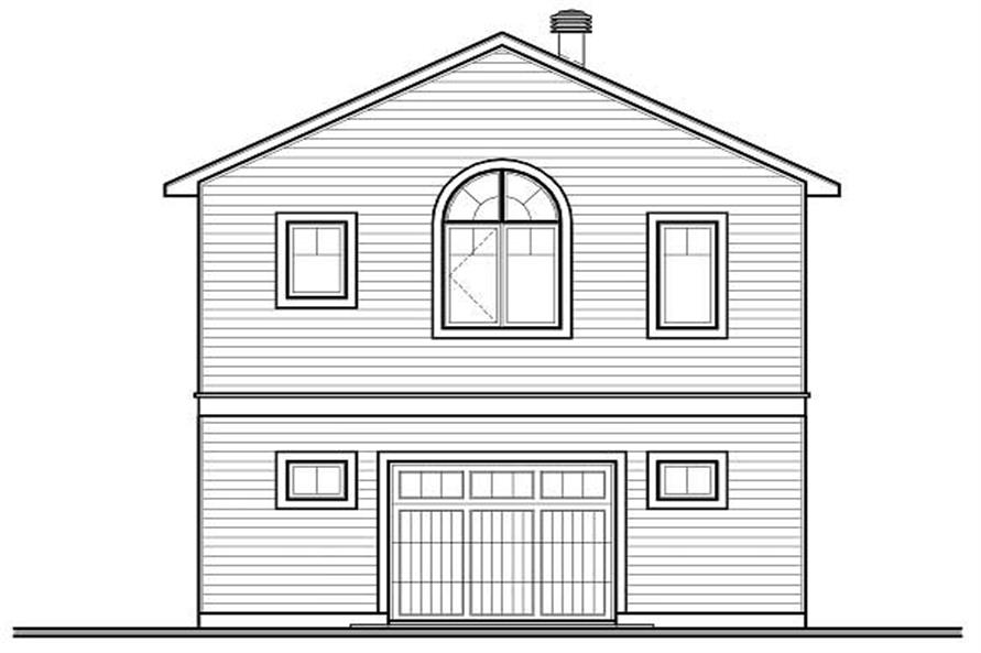 Home Plan Rear Elevation of this 2-Bedroom,1042 Sq Ft Plan -126-1130