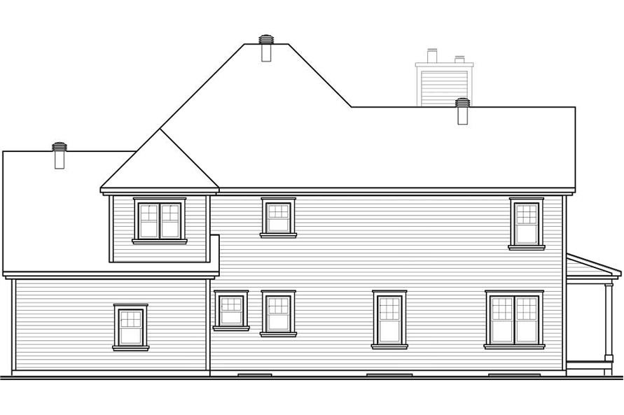 Home Plan Rear Elevation of this 4-Bedroom,2528 Sq Ft Plan -126-1132