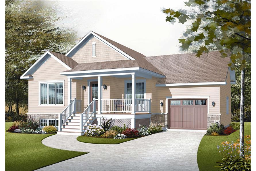 This image is a computerized rendering for these Small Ranch House Plans.