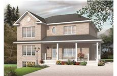 This image shows the front elevation of these Multi-Unit Houseplans.
