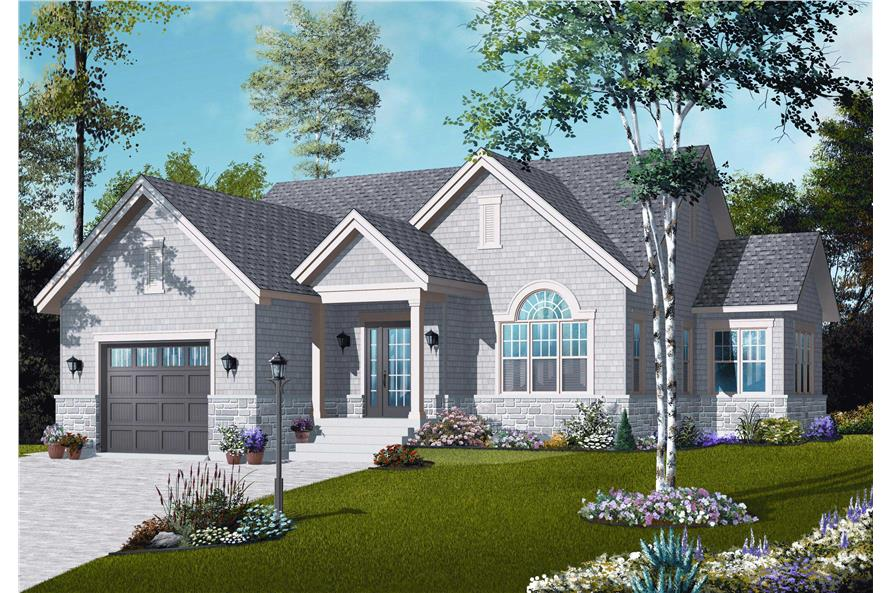 This image shows the front elevation of these Small House Plans.