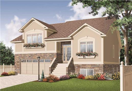 This is the front elevation for these Split-Level House Plans.