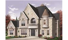 This image shows the front elevation for these Luxury Home Plans.