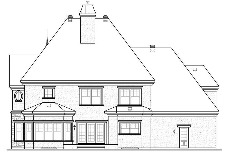 Home Plan Rear Elevation of this 4-Bedroom,3690 Sq Ft Plan -126-1152