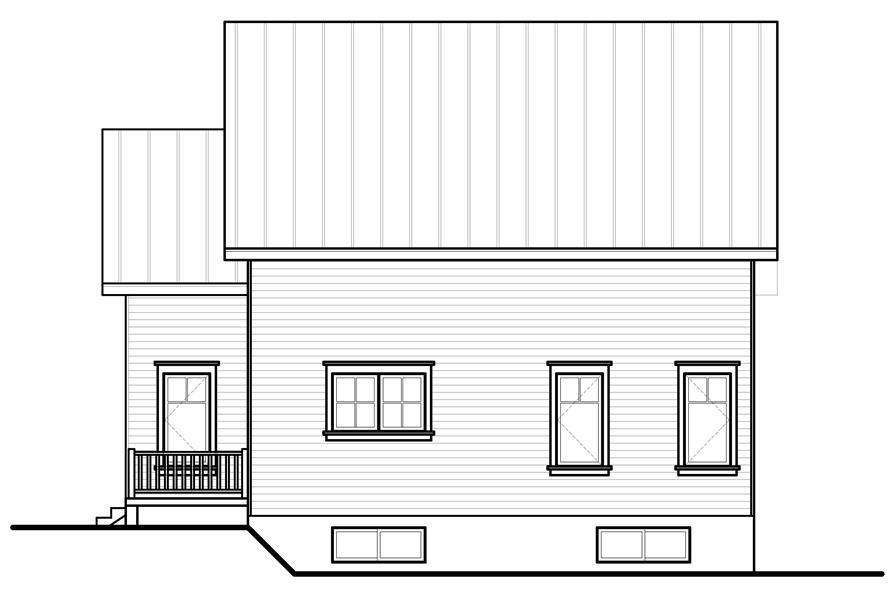 Home Plan Rear Elevation of this 3-Bedroom,1508 Sq Ft Plan -126-1153