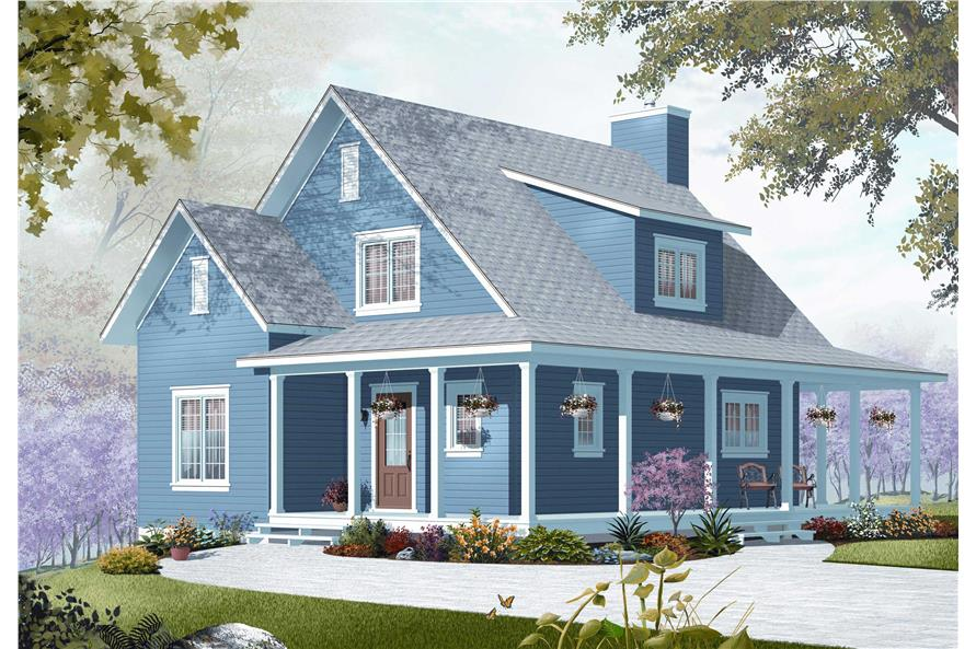 3-Bedroom, 1370 Sq Ft Country House Plan - 126-1154 - Front Exterior