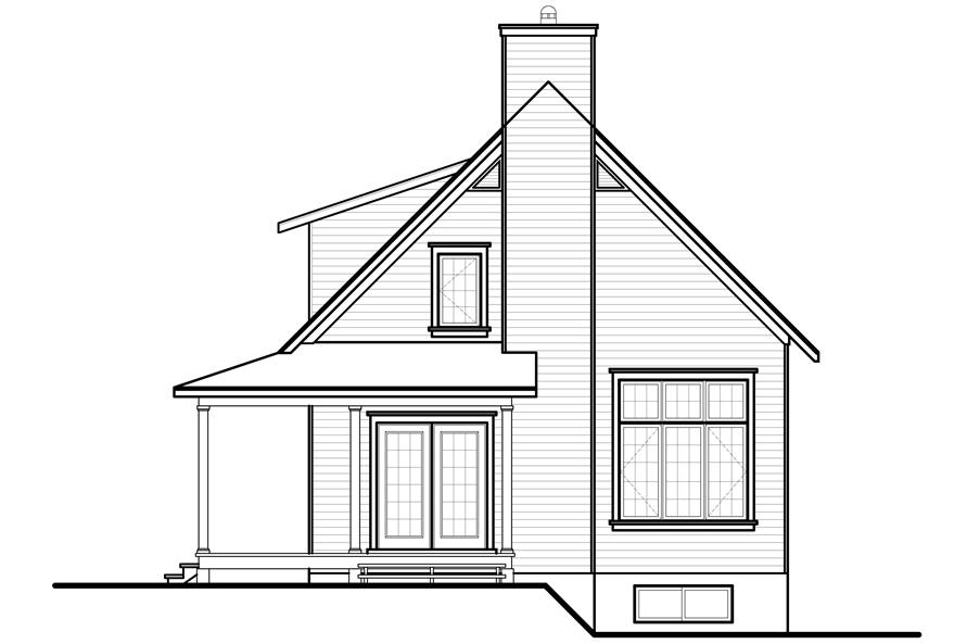 Home Plan Rear Elevation of this 3-Bedroom,1370 Sq Ft Plan -126-1154