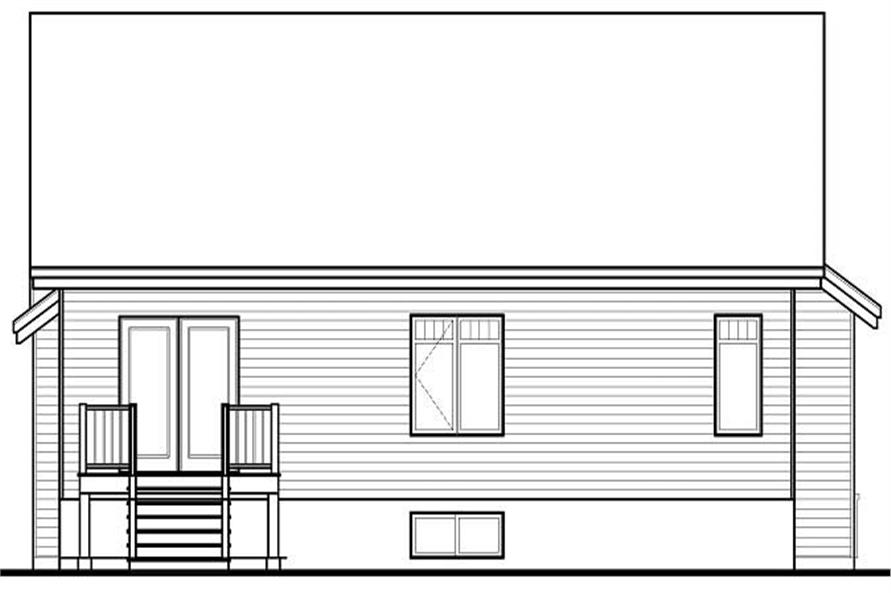 Home Plan Rear Elevation of this 3-Bedroom,1390 Sq Ft Plan -126-1155