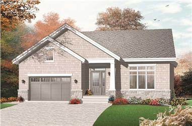 This colored image was created by a computer to show you the front elevation for these Country House Plans.