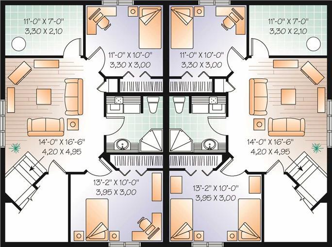 Nice duplex house plans with basement 3 d 427 craftsman Luxury duplex floor plans