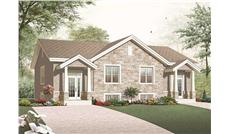 This is the front elevation for these Duplex House Plans.