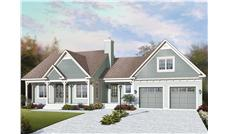 This is the front elevation for these Craftsman House Plans