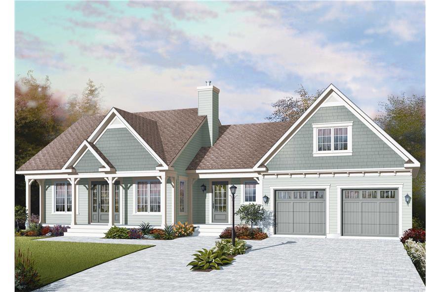 3-Bedroom, 1432 Sq Ft Cape Cod Home Plan - 126-1159 - Main Exterior
