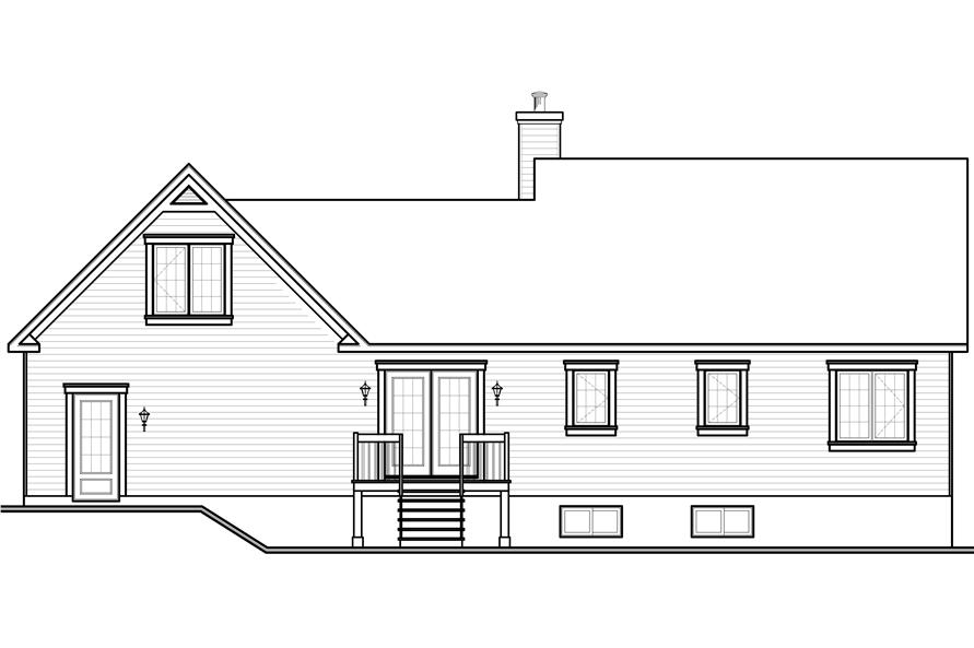 Home Plan Rear Elevation of this 3-Bedroom,1432 Sq Ft Plan -126-1159