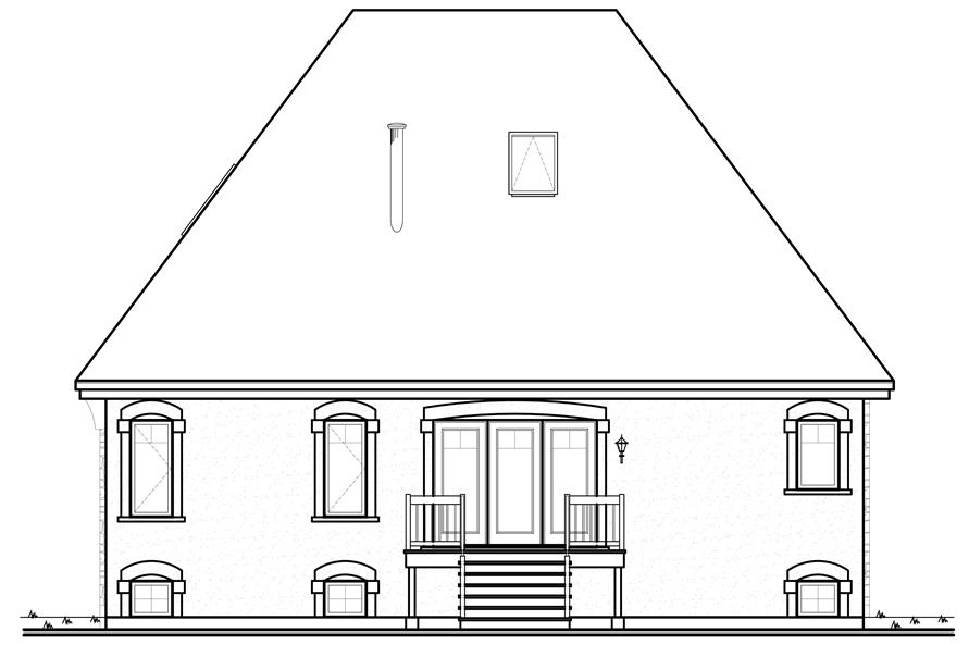 Home Plan Rear Elevation of this 3-Bedroom,1798 Sq Ft Plan -126-1160