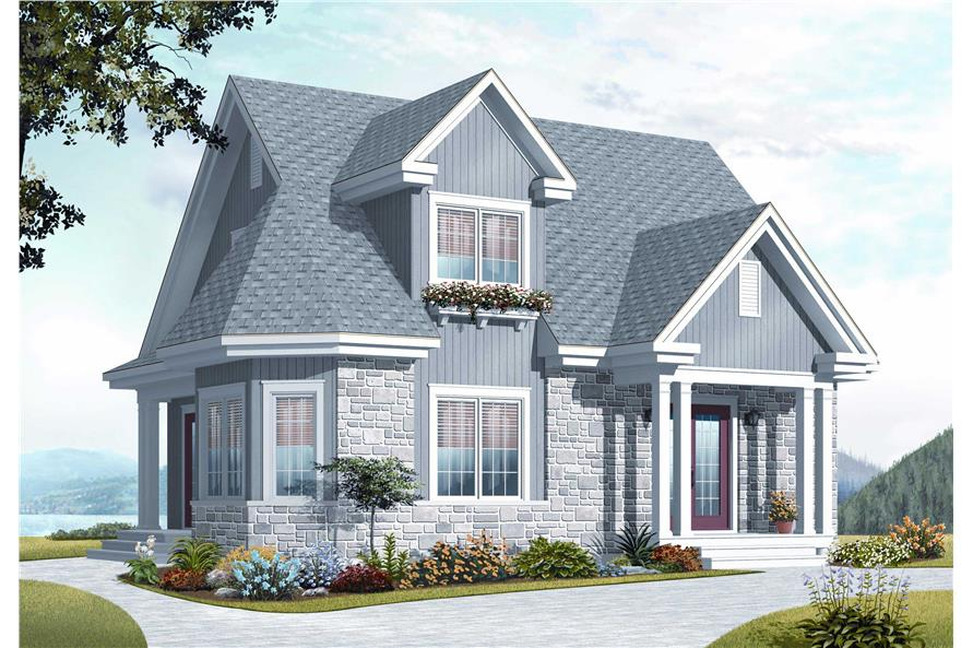 This is the front elevation for these Craftsman Cottage House Plans.